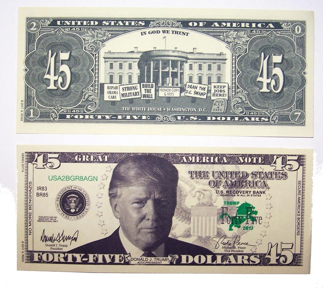 100 bills of fake trick donald trump 45 dollar bill play novelty