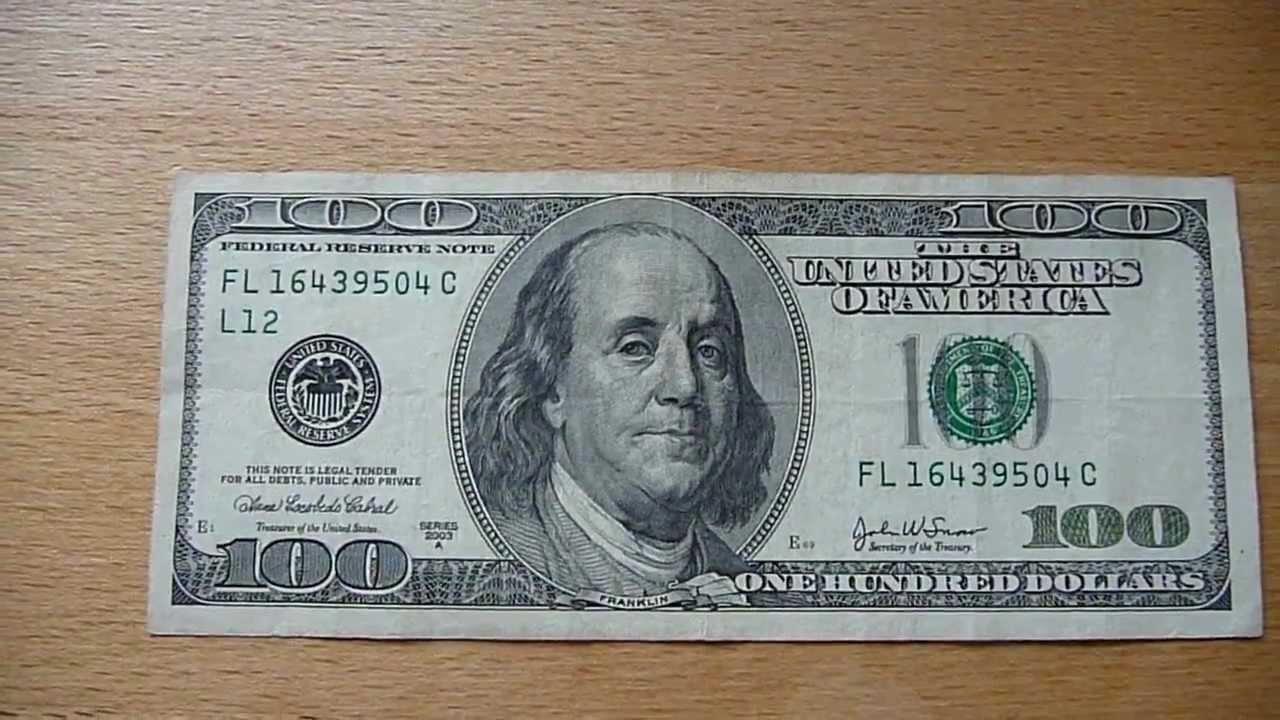 100 dollar bill / 100 dollar banknote series 2003a - youtube