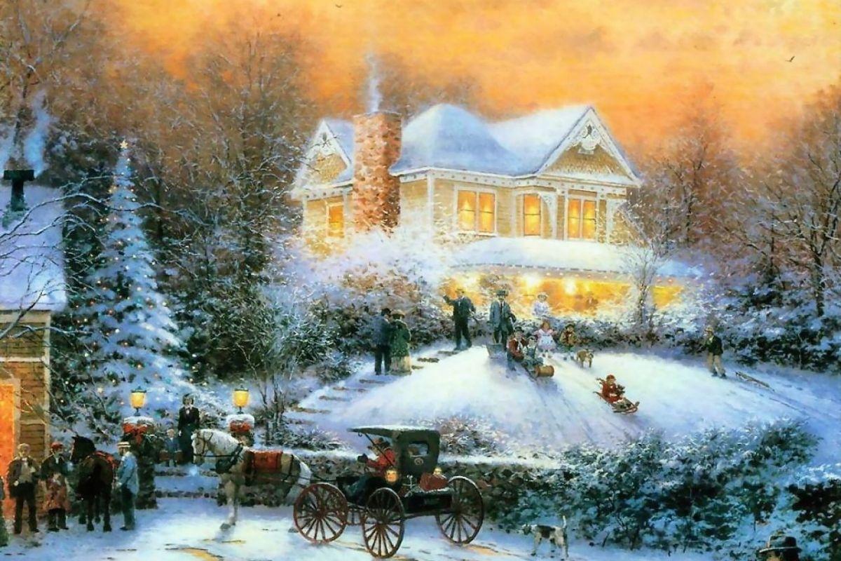 2015 free thomas kinkade christmas screensavers - wallpapers, images