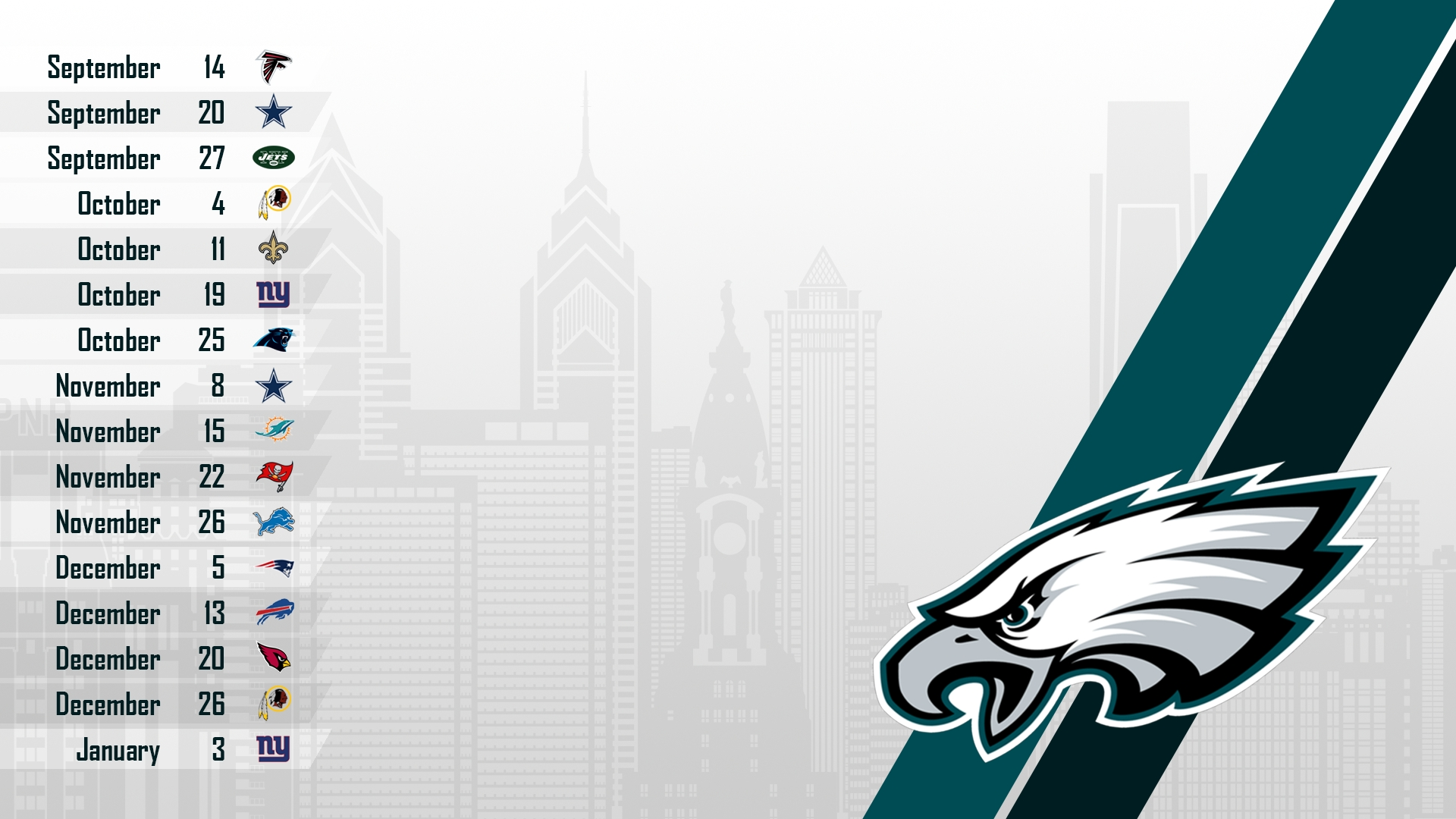 2015 schedule wallpaper : eagles