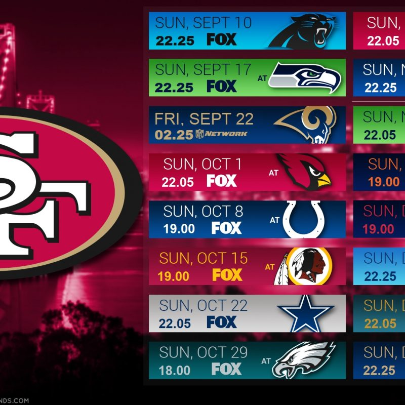 10 New 49Ers 2017 Schedule Wallpaper FULL HD 1920×1080 For PC Background 2018 free download 2017 schedule wallpaper europe niners nation 800x800