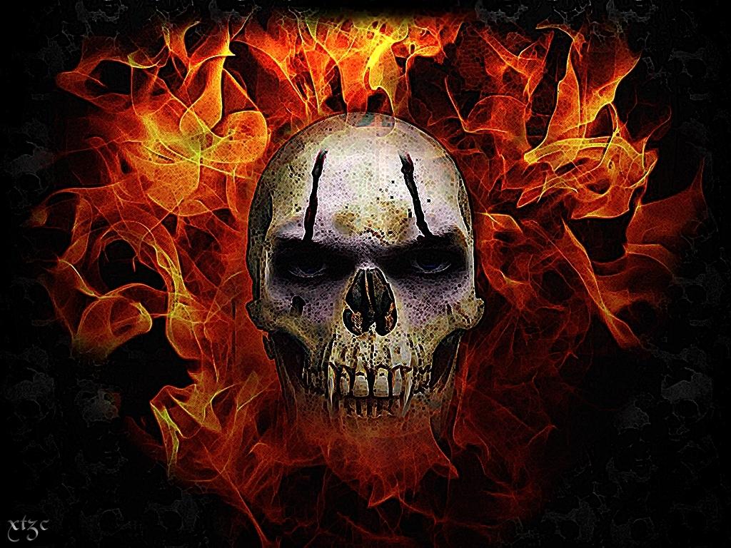 42+ skull flames wallpaper
