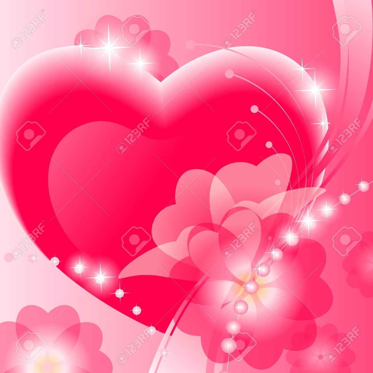abstract valentine background with heart and flower on pink.. stock