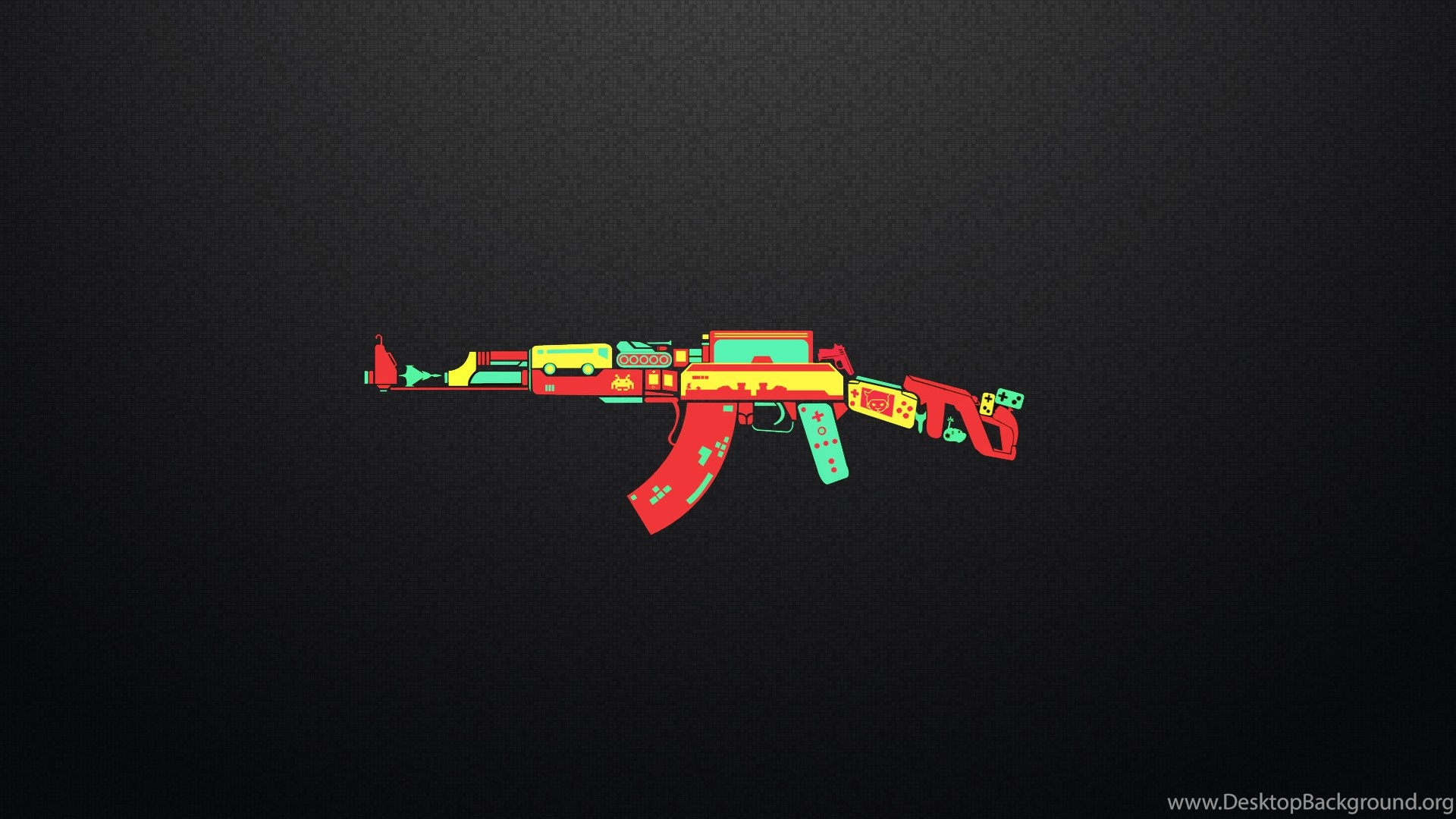 ak 47 controller game weapon funny humor wallpapers desktop background