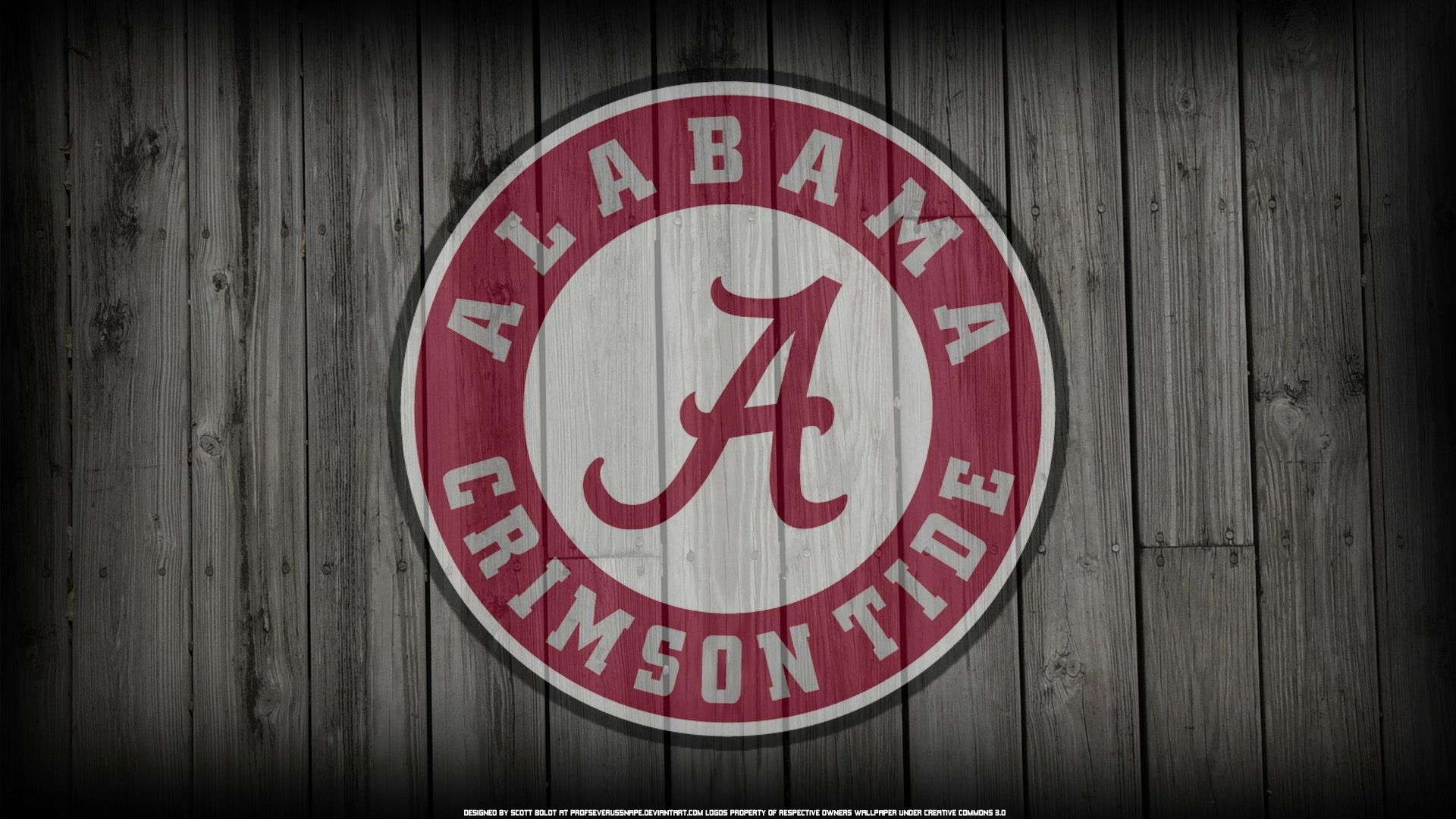 alabama crimson tide logo on wood background (by ~profseverussnape