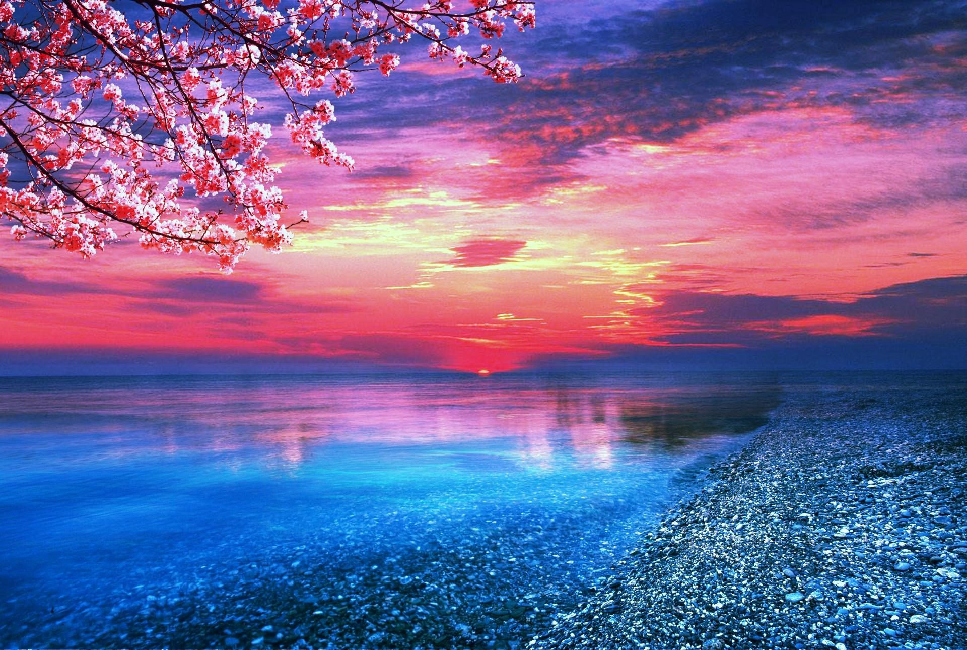 amazing red sunset ocean wallpaper wallpaper | wallpaperlepi