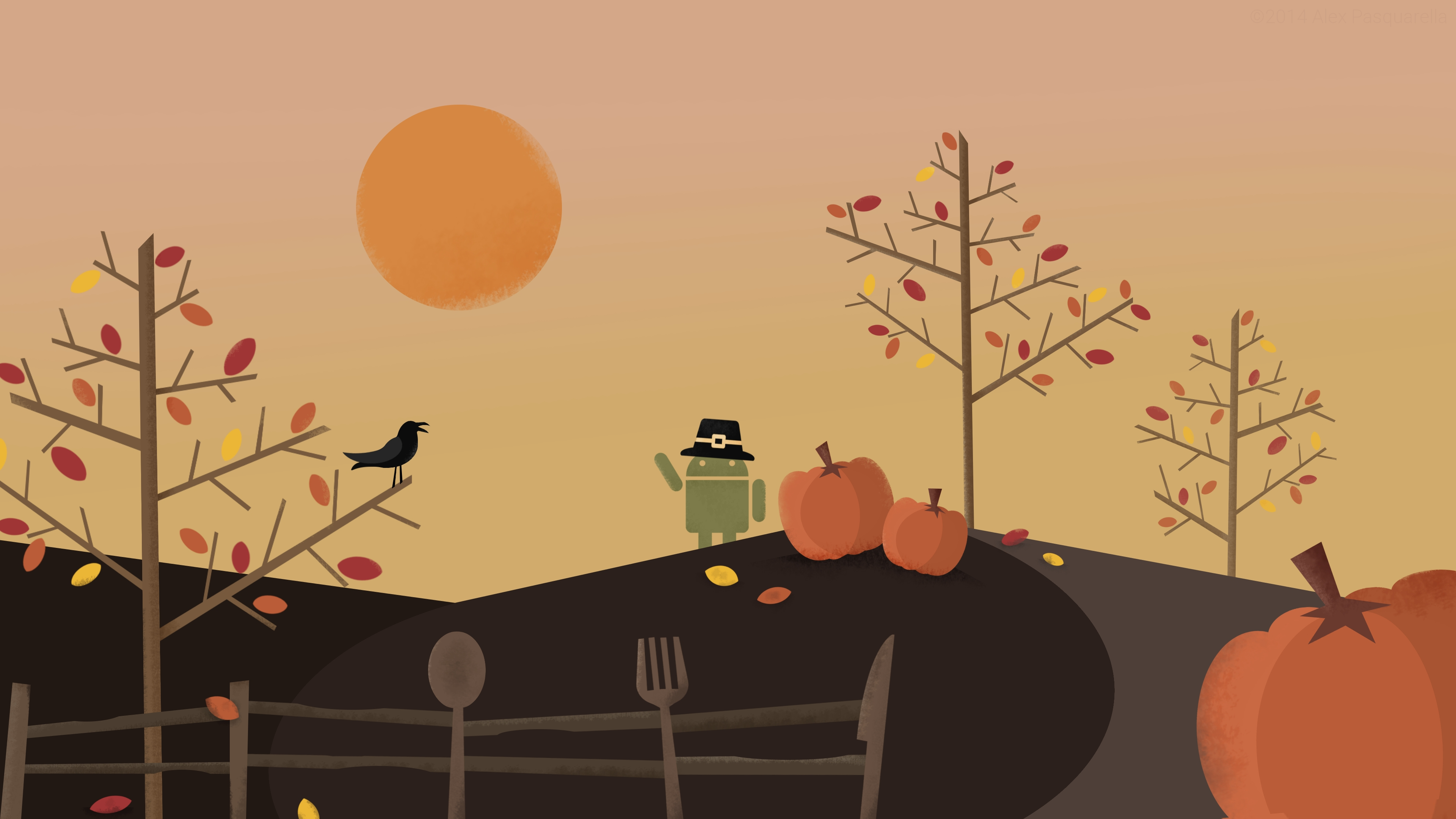 android wallpaper: roboto thanksgiving