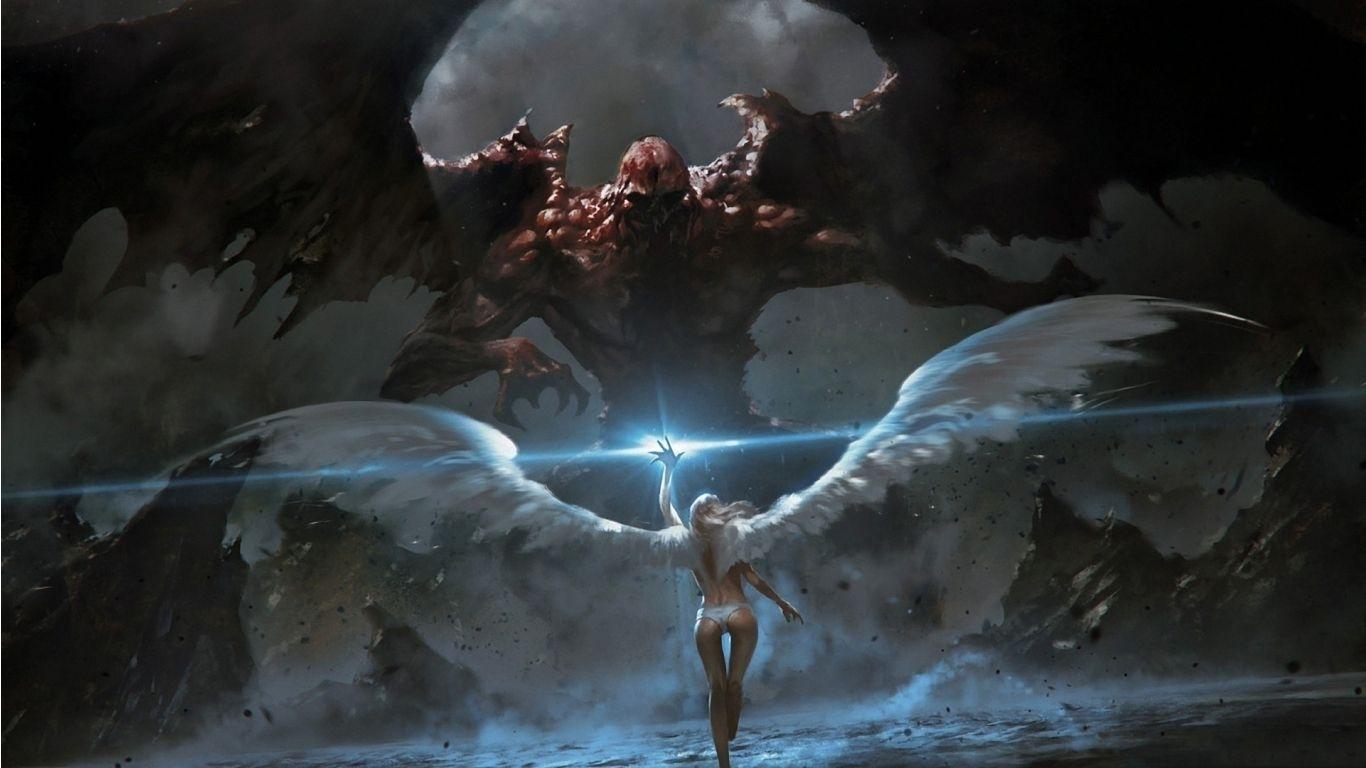 angel demons angels vs demon wallpaper with 1366×768 resolution