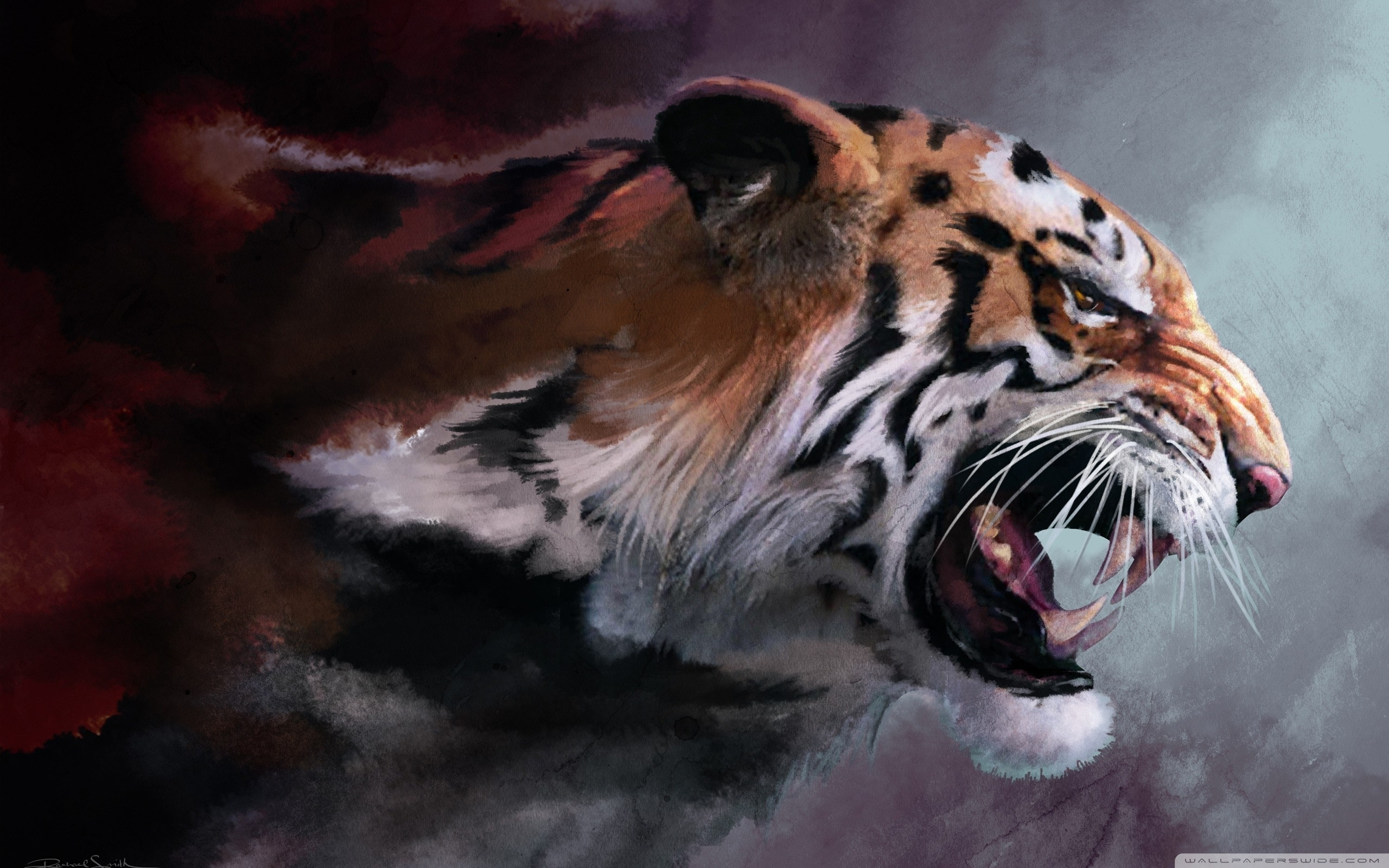 angry tiger painting ❤ 4k hd desktop wallpaper for 4k ultra hd tv