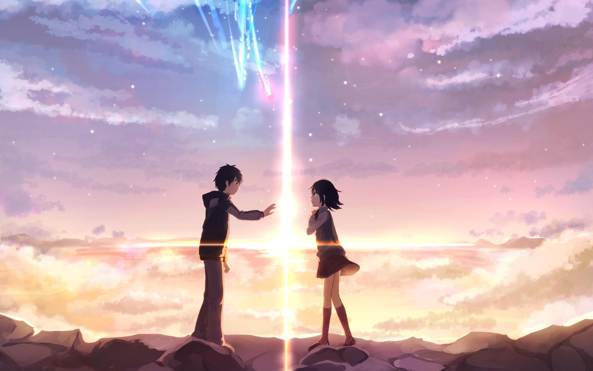 anime your name. mitsuha miyamizu taki tachibana kimi no na wa. fond