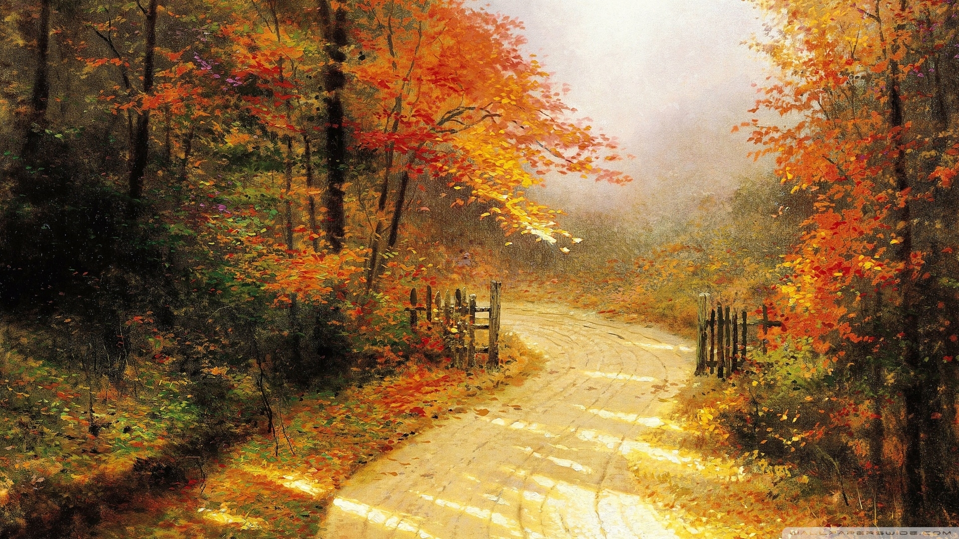 autumn lanethomas kinkade ❤ 4k hd desktop wallpaper for 4k