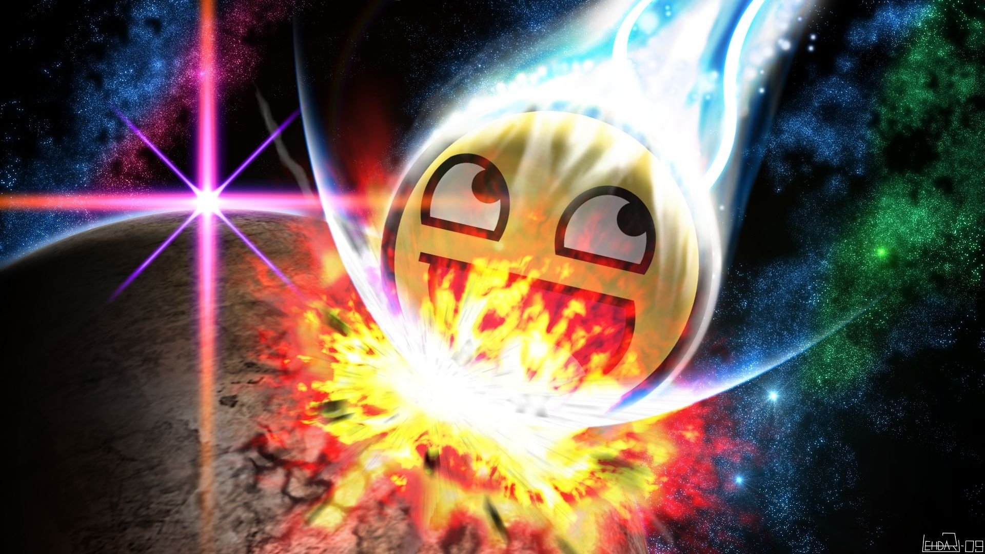 awesome face | awesome, crashing, smiley, face, planet, cool, boom
