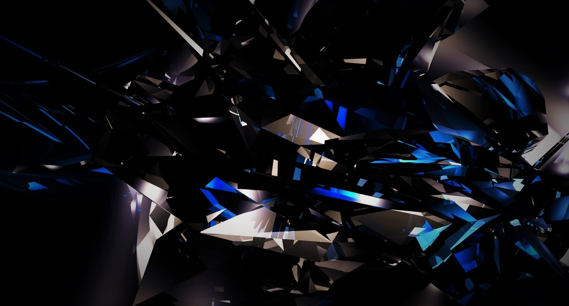black, dark, abstract, 3d, shards, glass, blue, bright wallpapers hd
