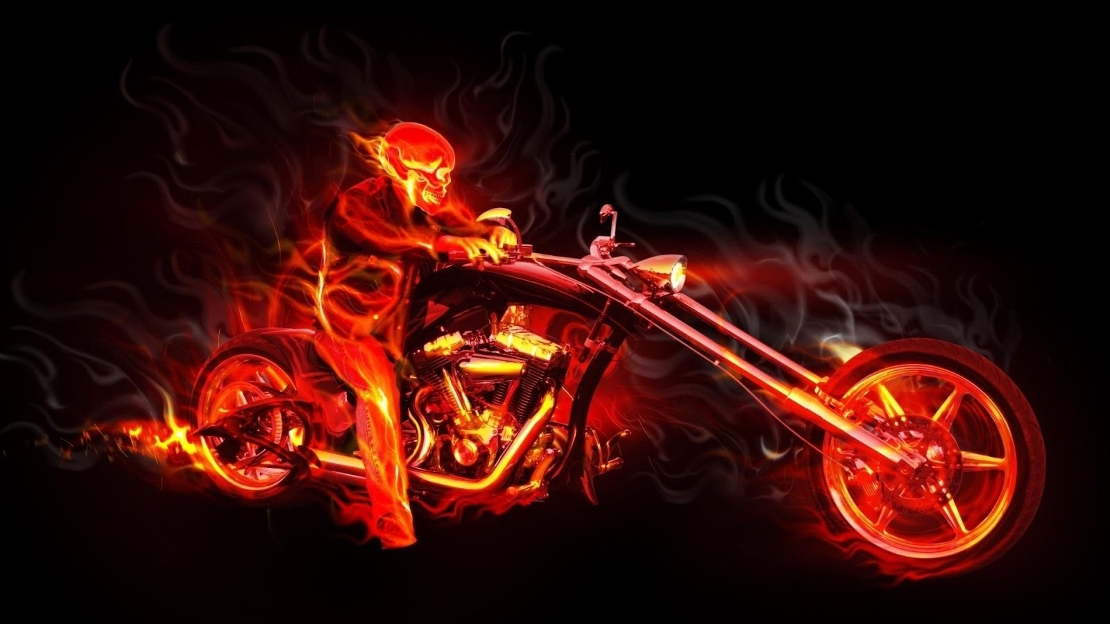 blue and red flaming skulls | file name : motorcycle skull flames