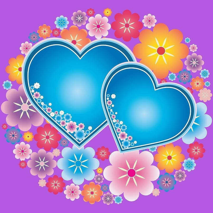 blue hearts and flowers digital artolga cherverikova