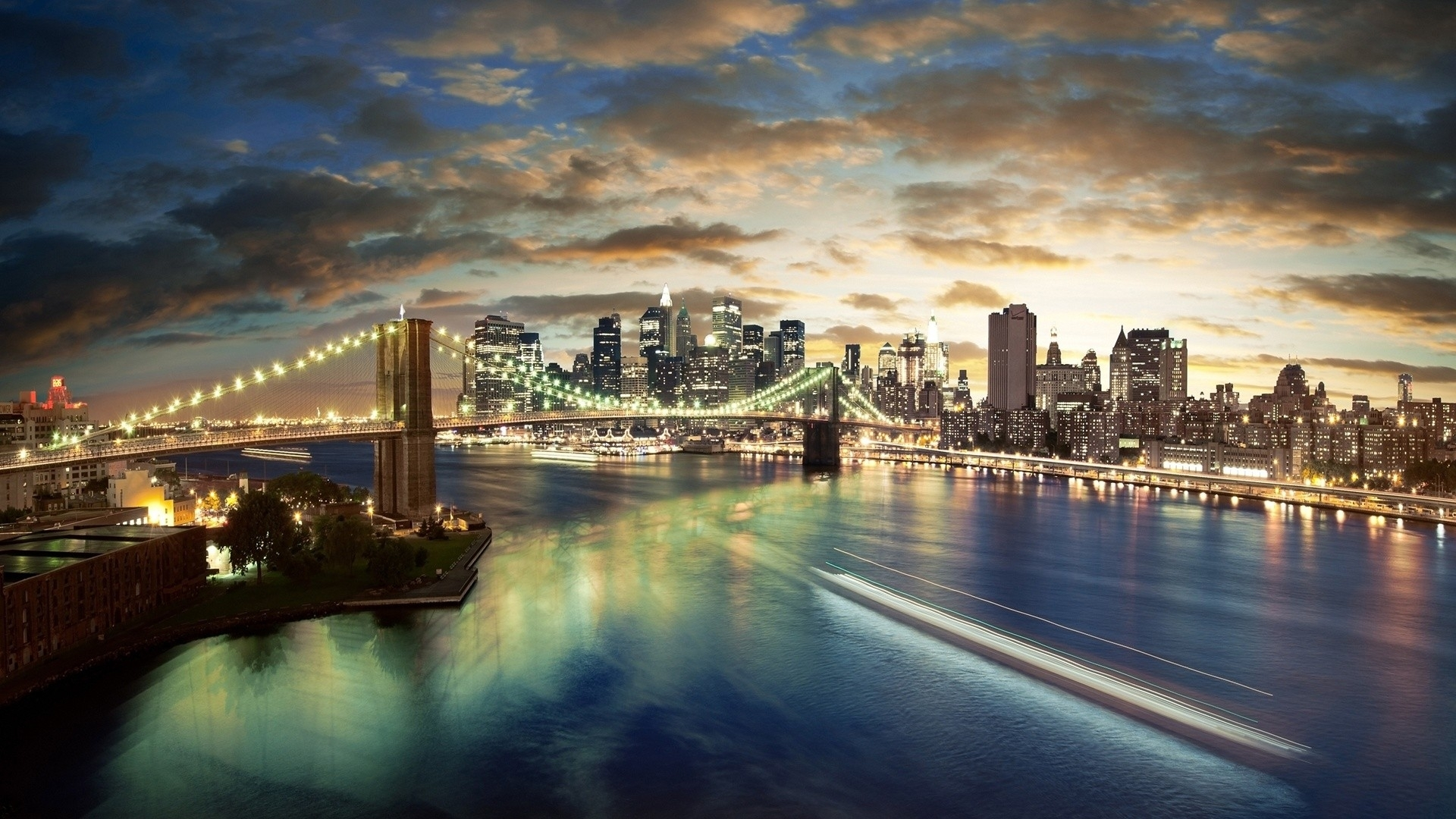 brooklyn bridge night skyline photography wall #2366 wallpaper   dexab