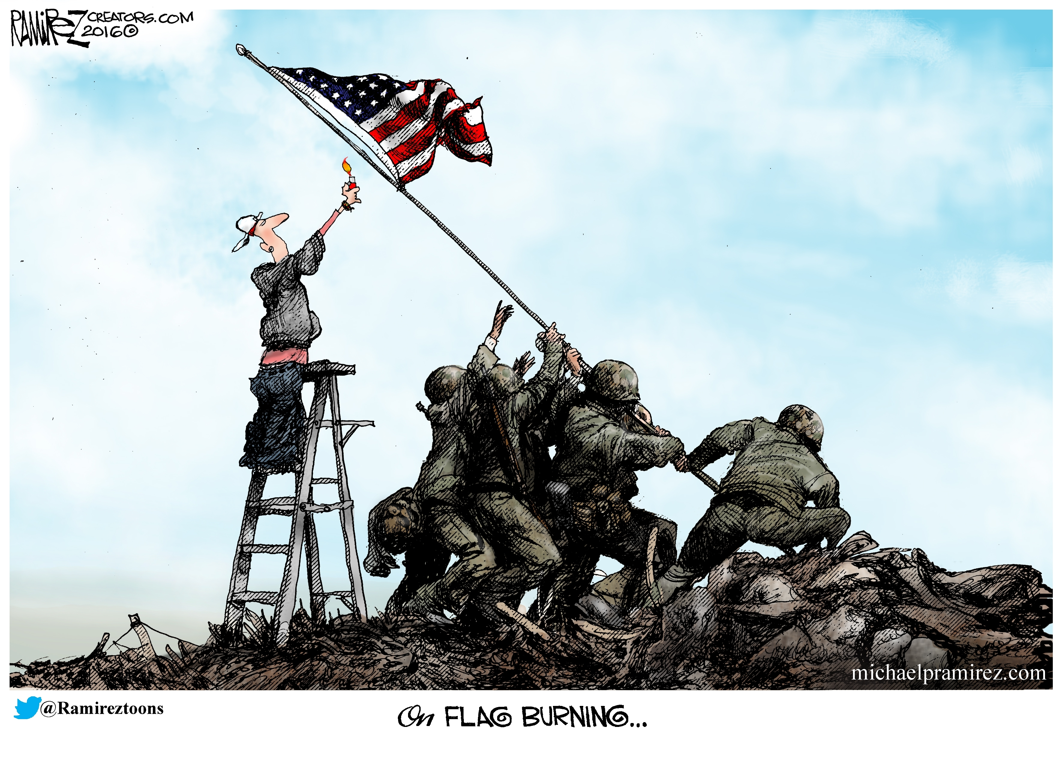 burning the flag of our fathers - michael p. ramirez
