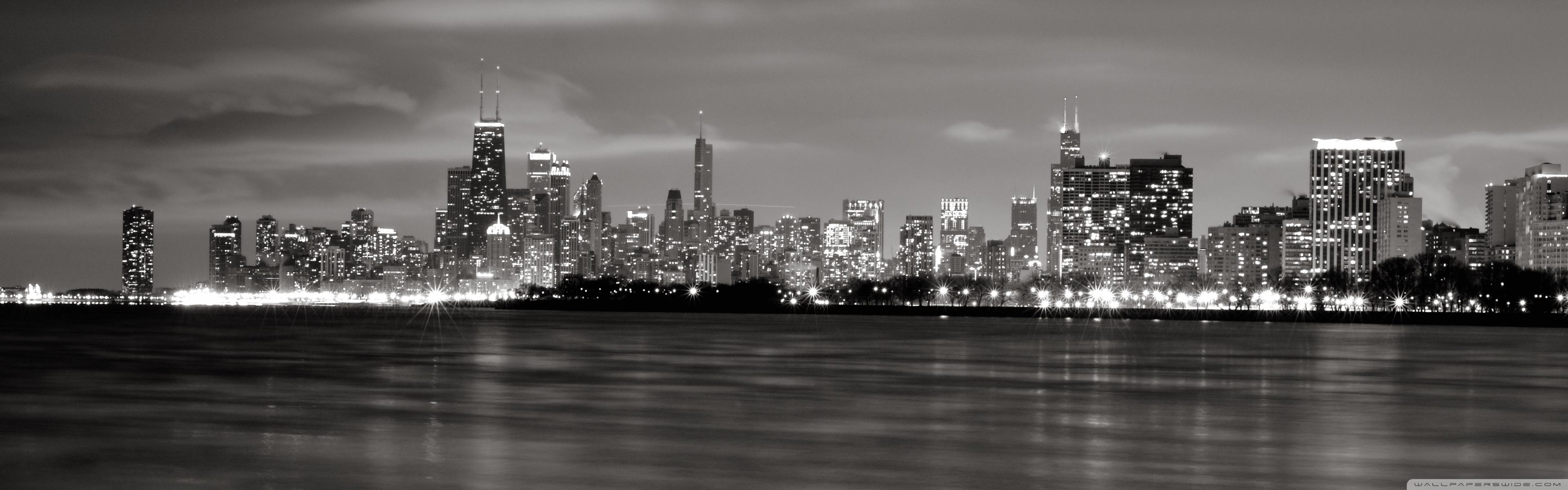 chicago skyline bw ❤ 4k hd desktop wallpaper for 4k ultra hd tv