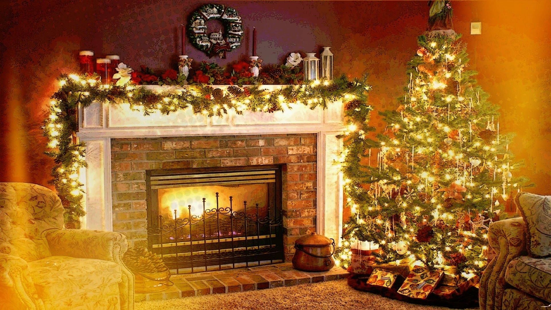 christmas, holiday, fireplace, interiors, welcome home wallpapers hd