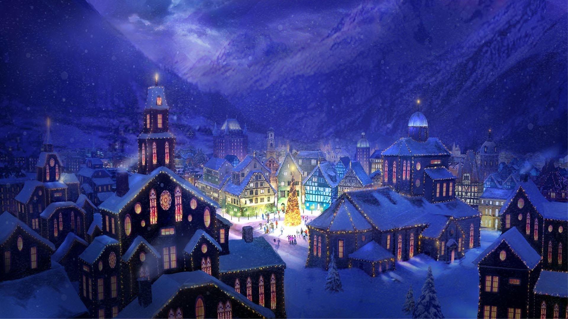 christmas landscapes | christmas village square hd wallpaper