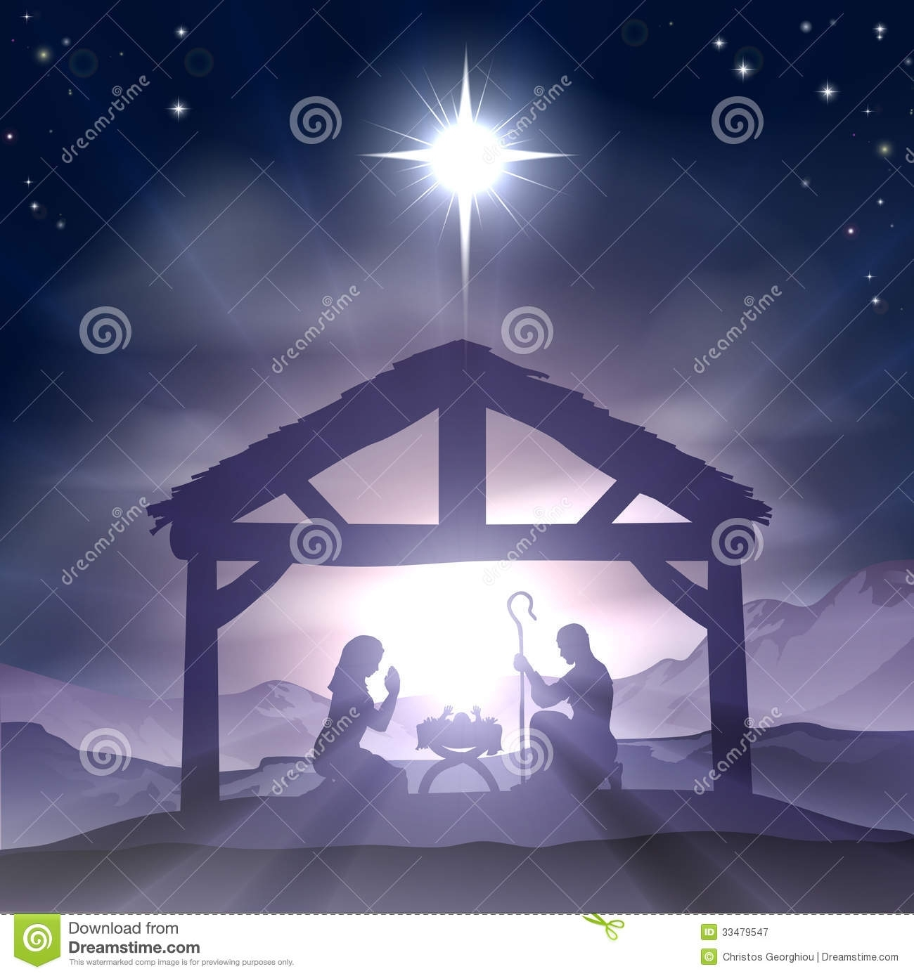 christmas manger nativity scene stock vector - illustration of crib