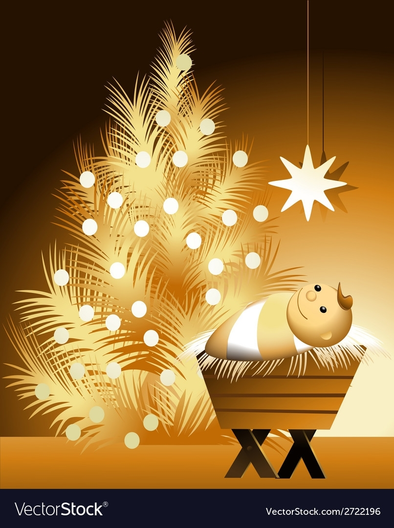 christmas scene with baby jesus royalty free vector image