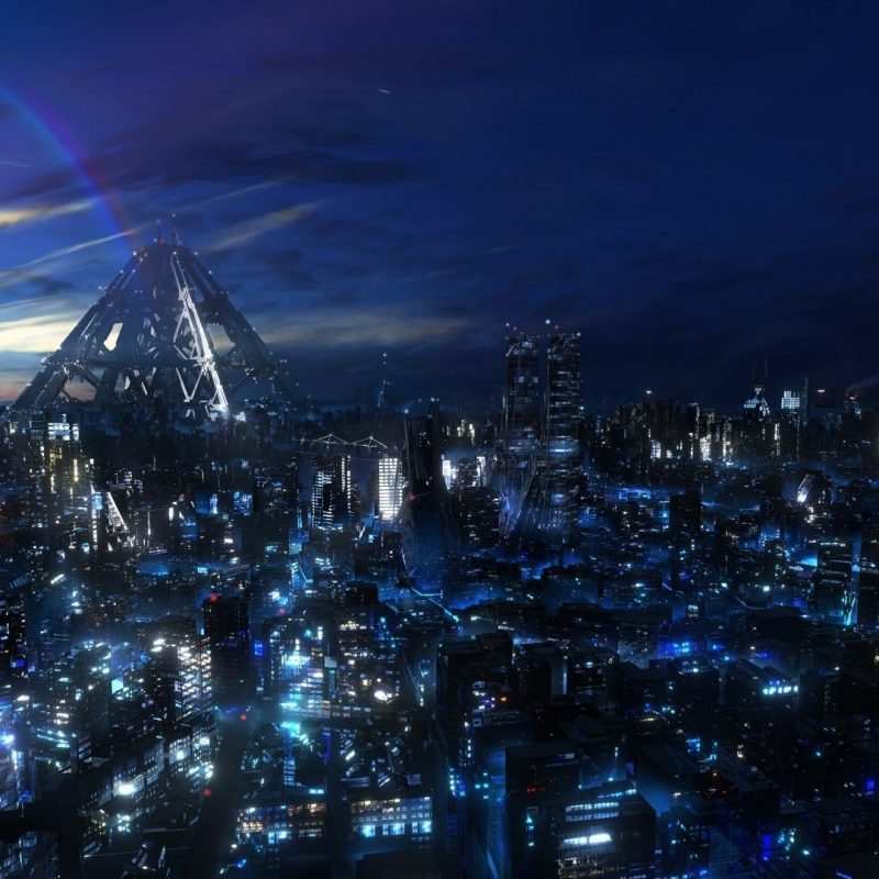 Future City At Night Wallpaper