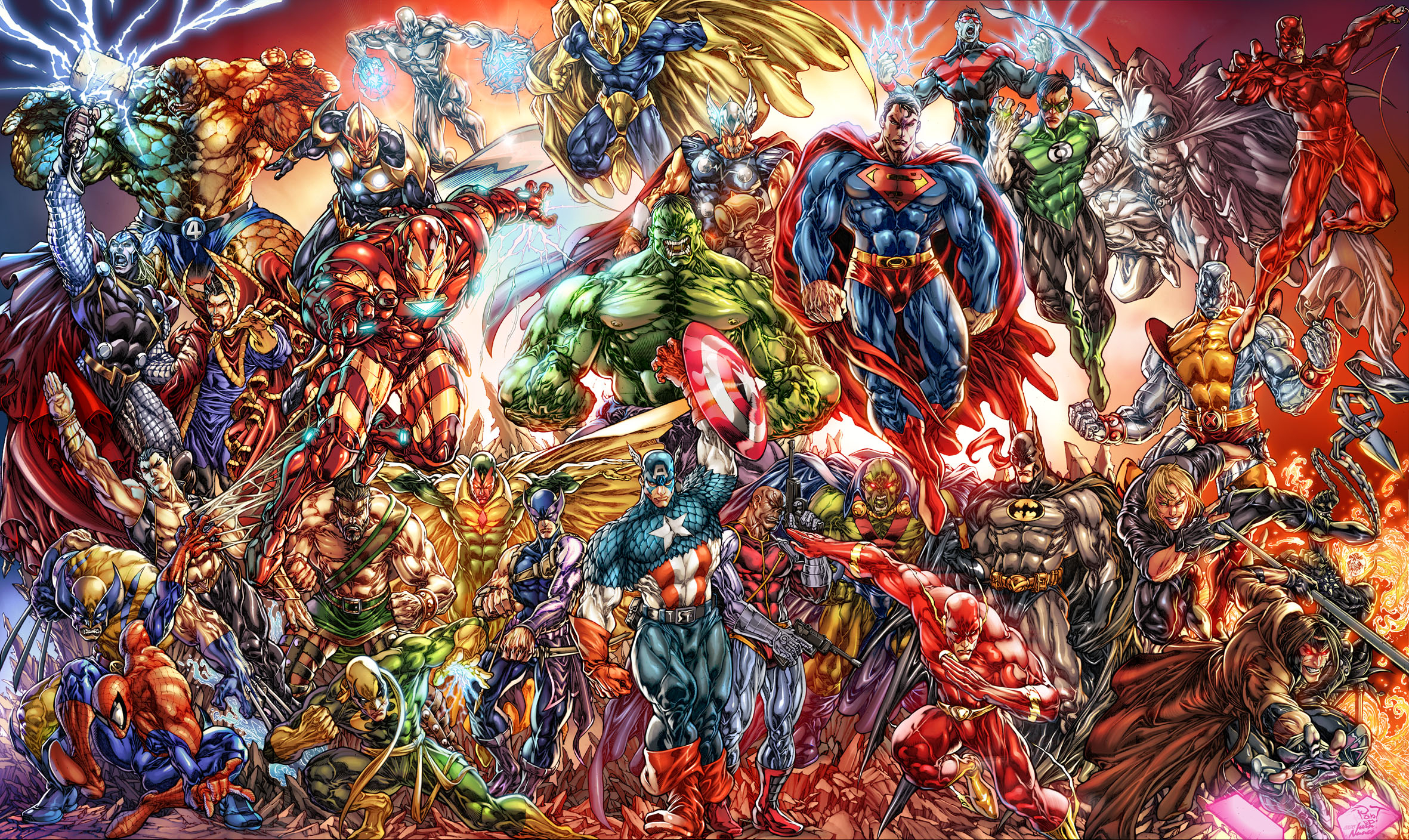 collage of marvel and dc characters hd wallpaper | background image
