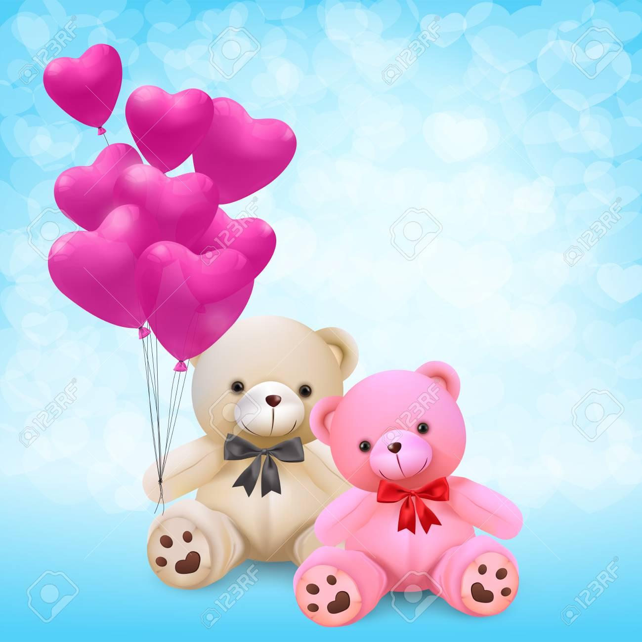cute teddy bear holding pink heart balloons - vector and