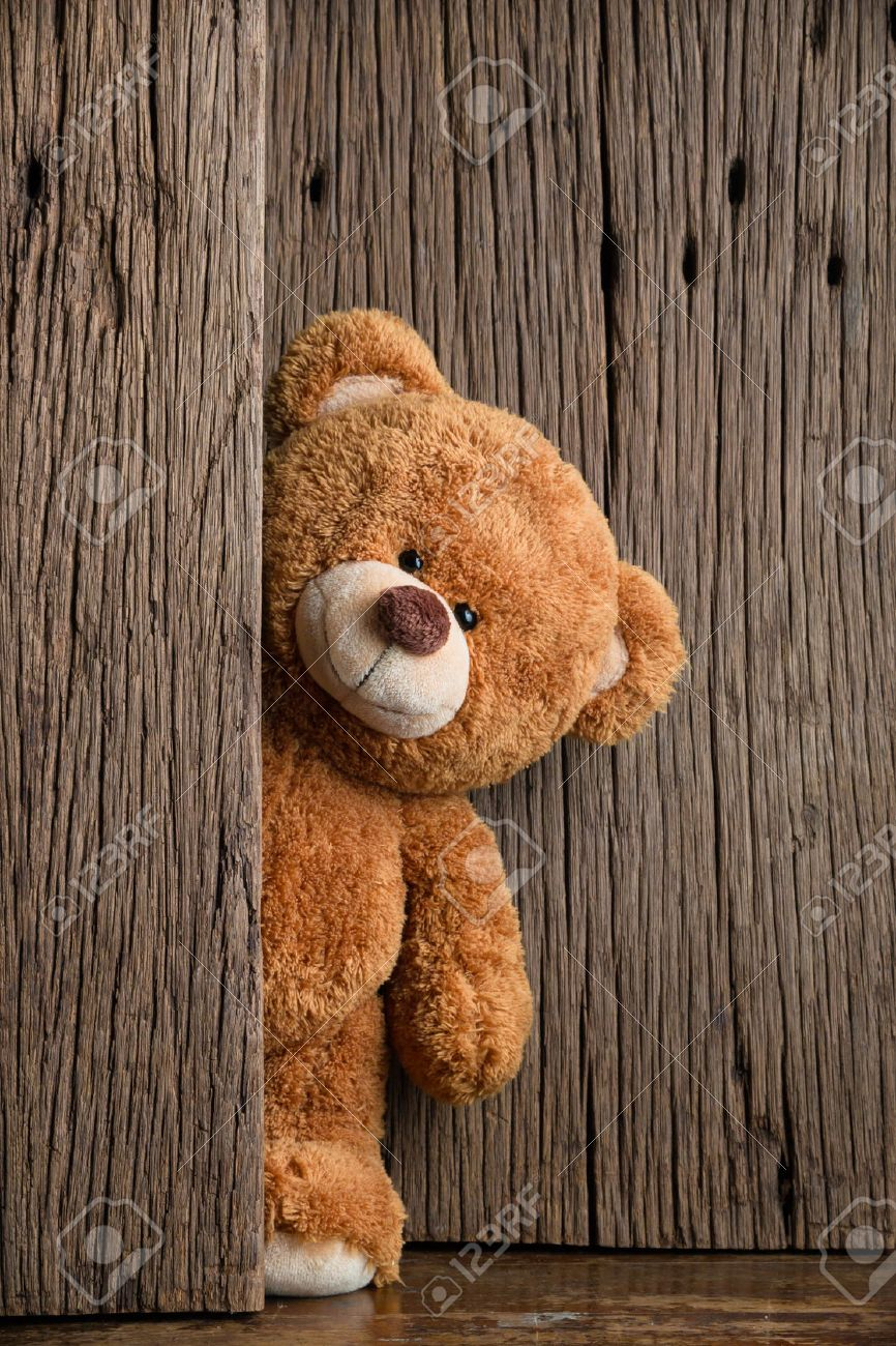 cute teddy bears with old wood background stock photo, picture and