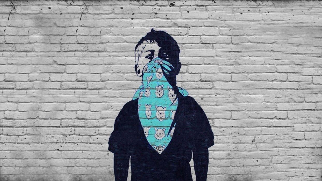 dark anarchy graffiti urban art children mask wallpaper | 1920x1080