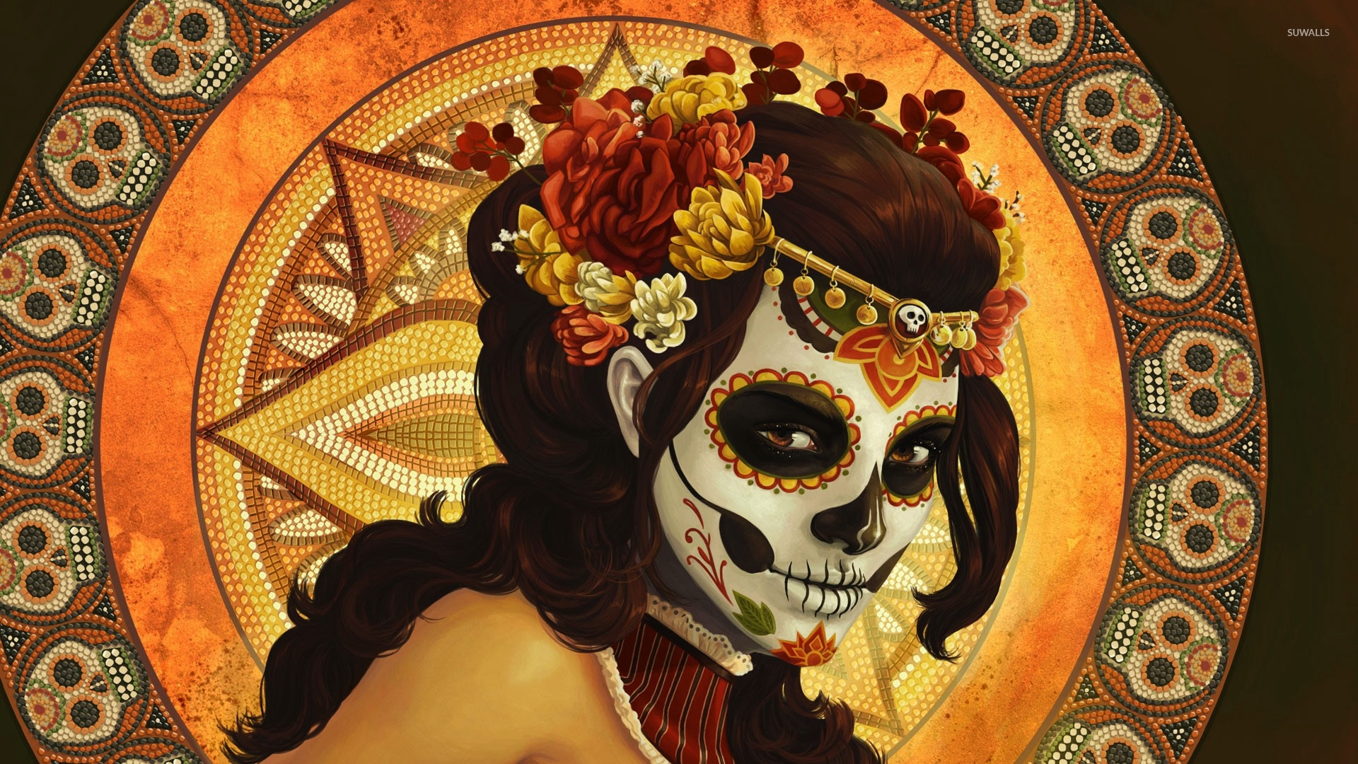 day of the dead mask wallpaper - fantasy wallpapers - #16284