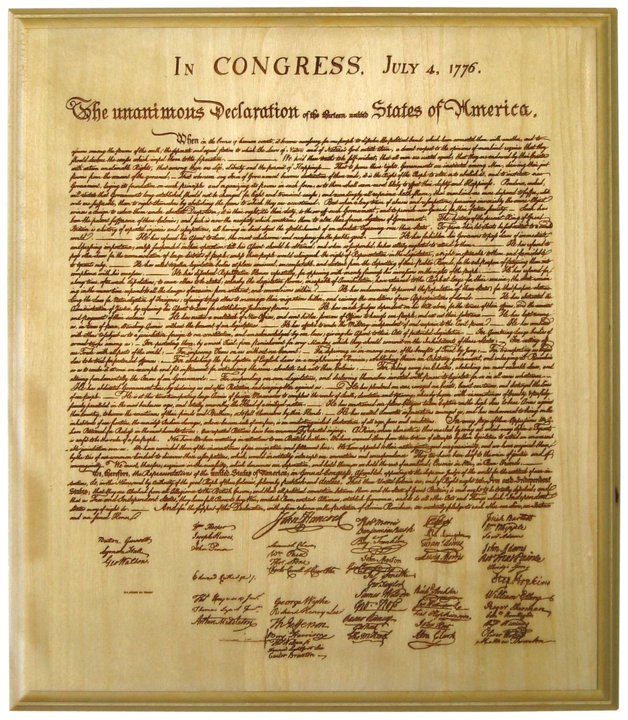 declaration of independence (lasered onto a wood plaque)