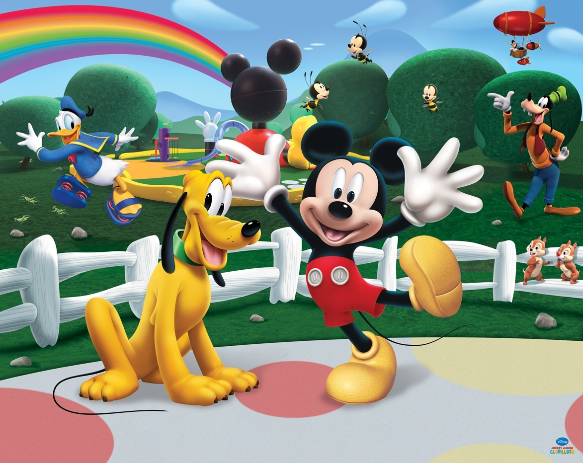 disney mickey mouse club housewalltastic - multi : wallpaper direct