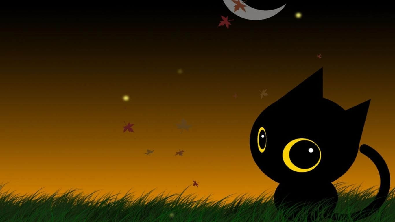 download halloween cute black cat wallpaper (4838) full size