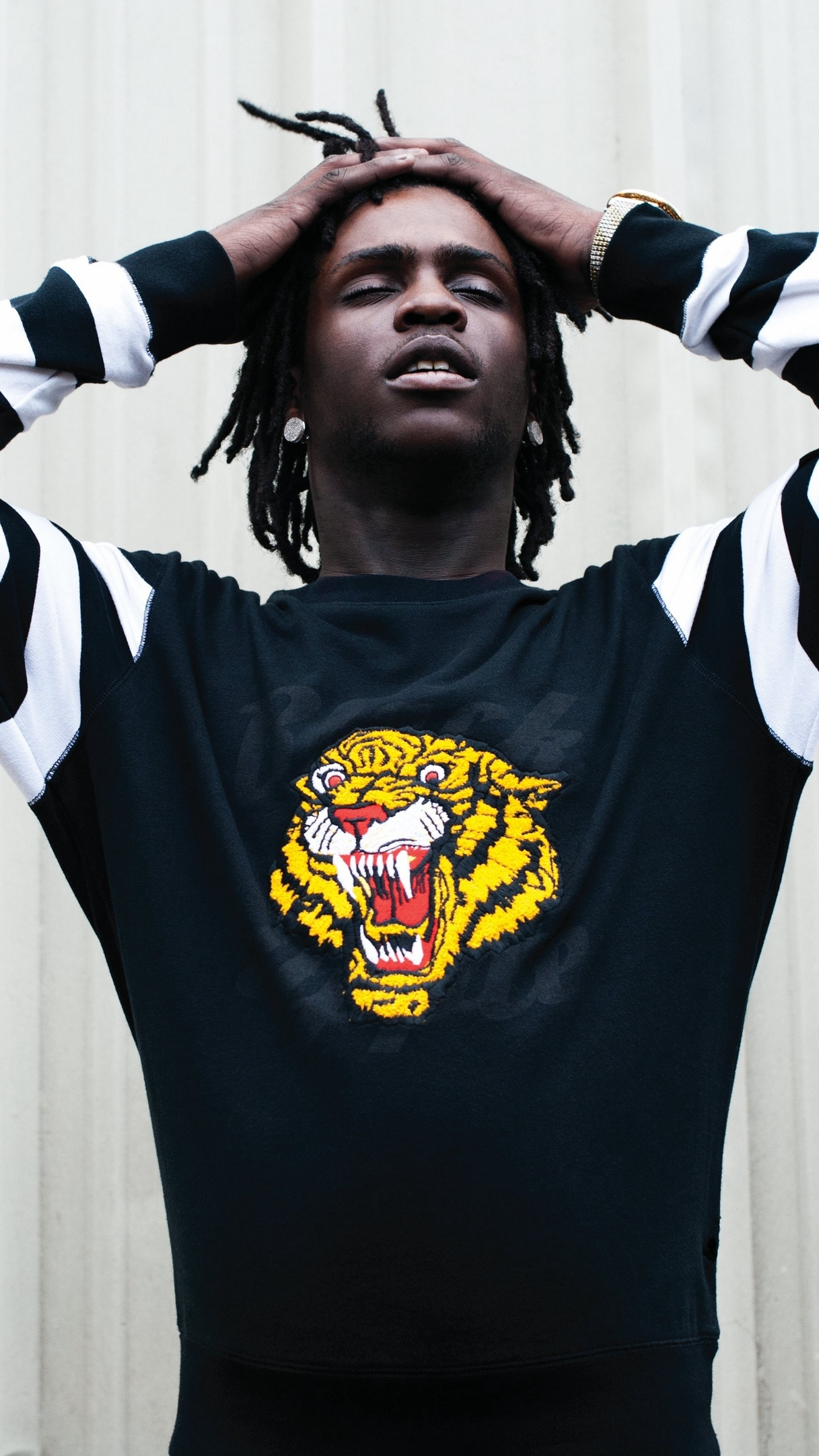 download wallpaper 1350x2400 chief keef, rapper, photo shoot iphone