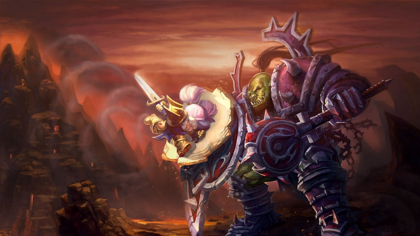 download wallpaper 1366x768 world of warcraft, wow, orc, warrior