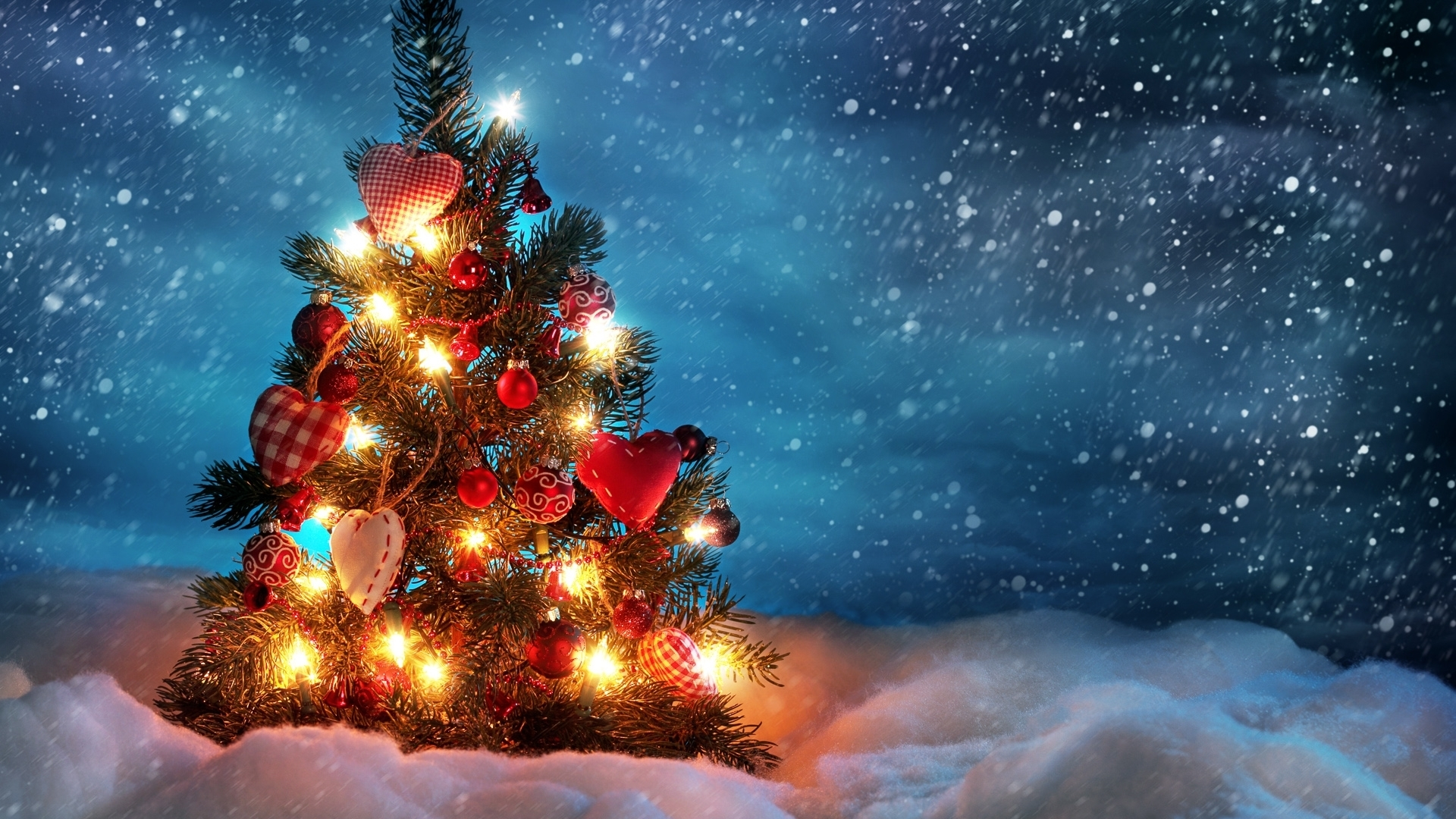 download wallpaper 1920x1080 christmas tree, snow, winter full hd