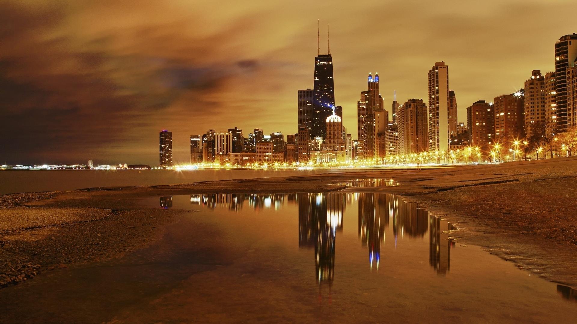 download wallpaper 1920x1080 city, ??chicago, night, lights, lake