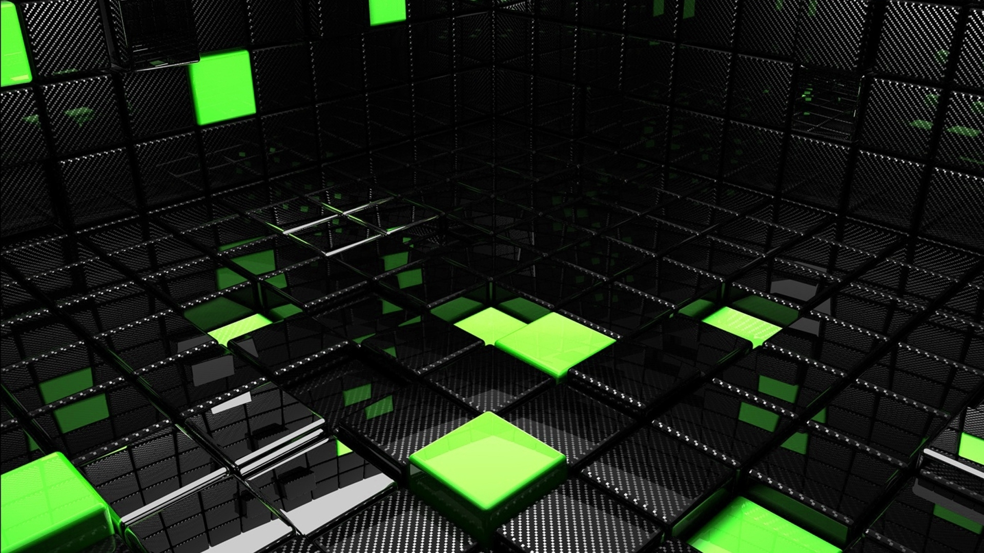 download wallpaper 1920x1080 cube, square, green, black, space full