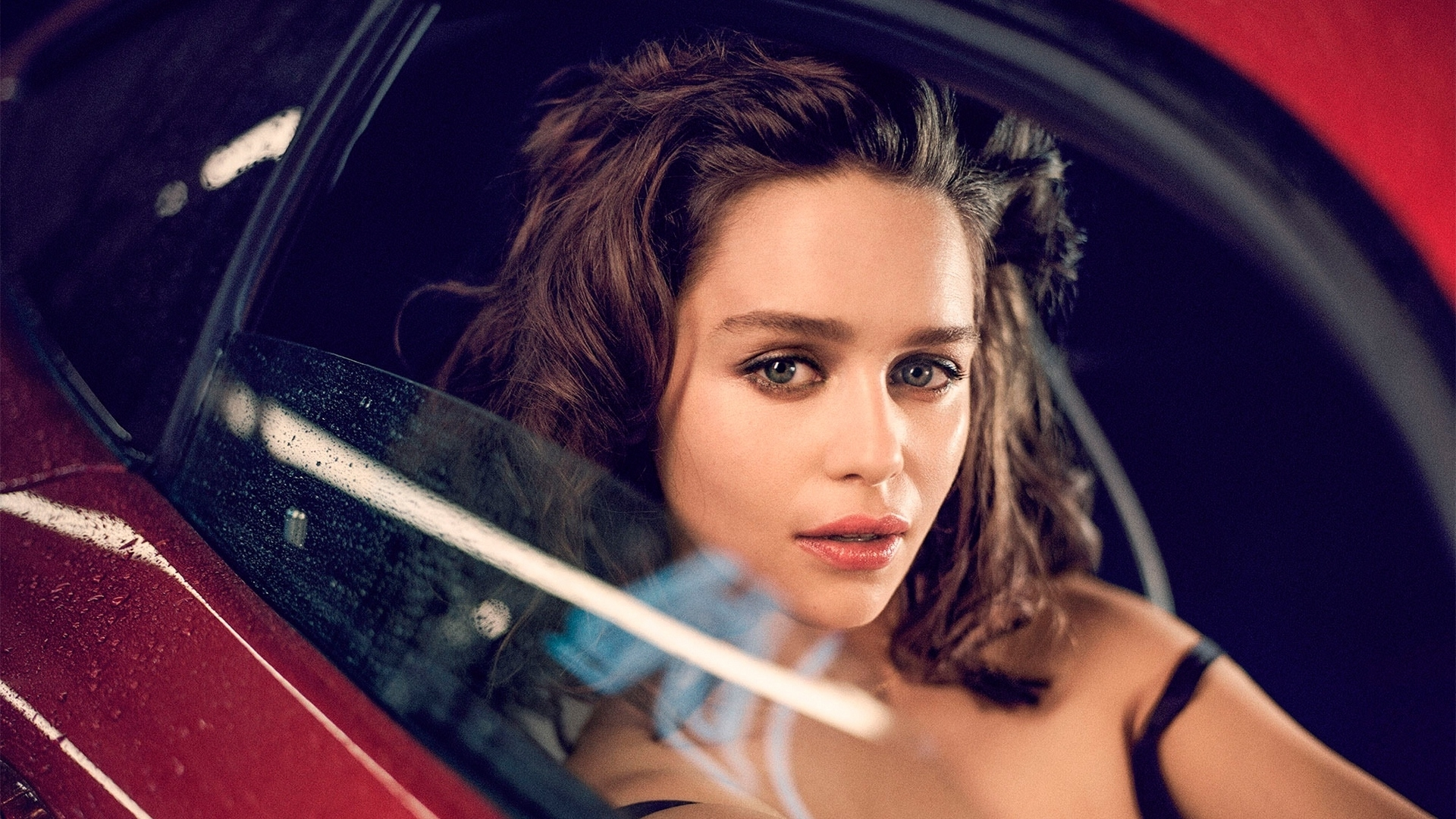 download wallpaper 1920x1080 emilia clarke, actress, brunette, car