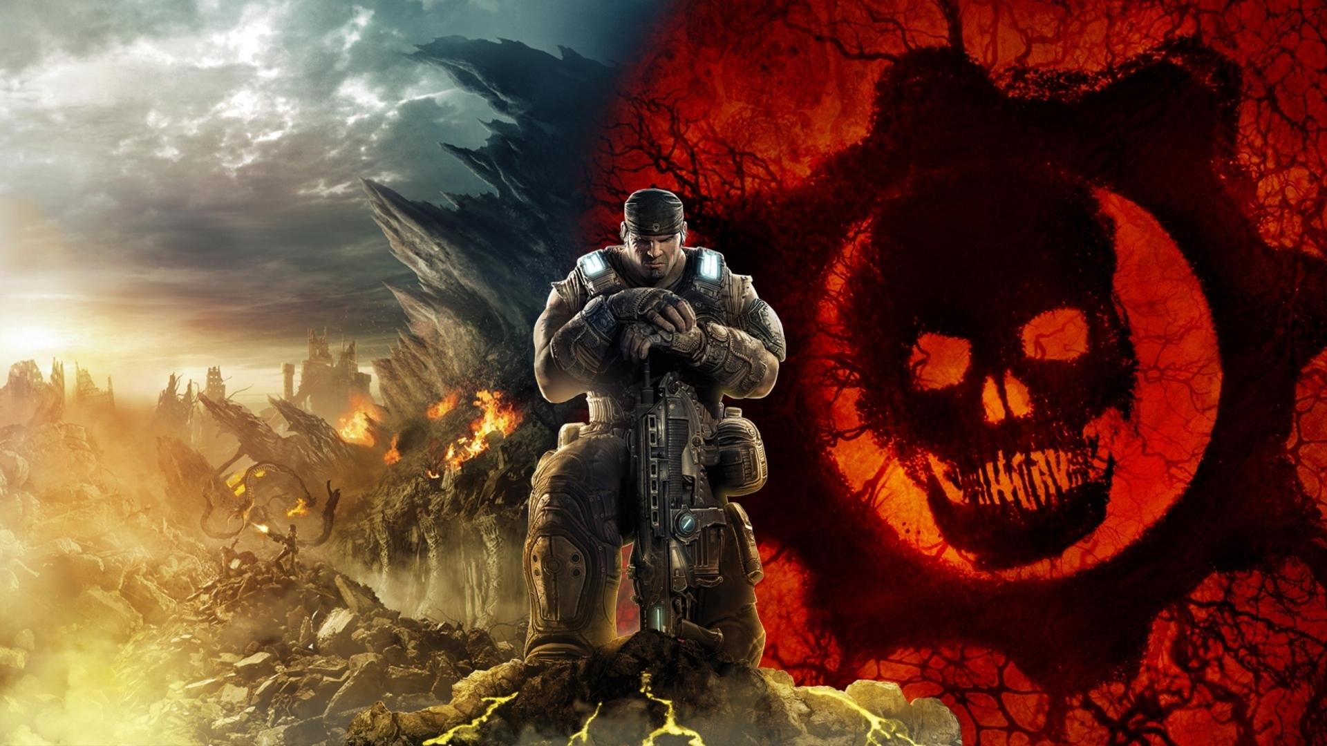 download wallpaper 1920x1080 gears of war, skull, soldier, sky