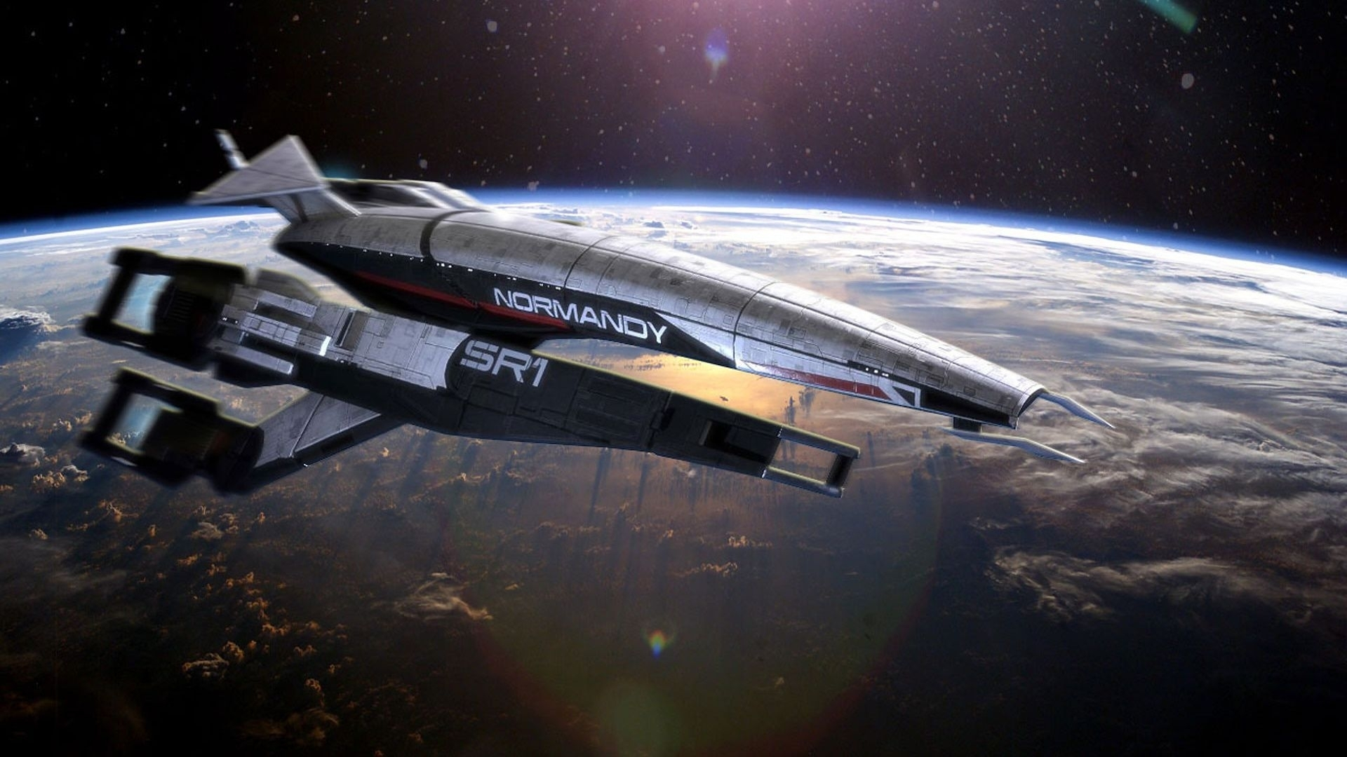 download wallpaper 1920x1080 mass effect 3, normandy, planet, space