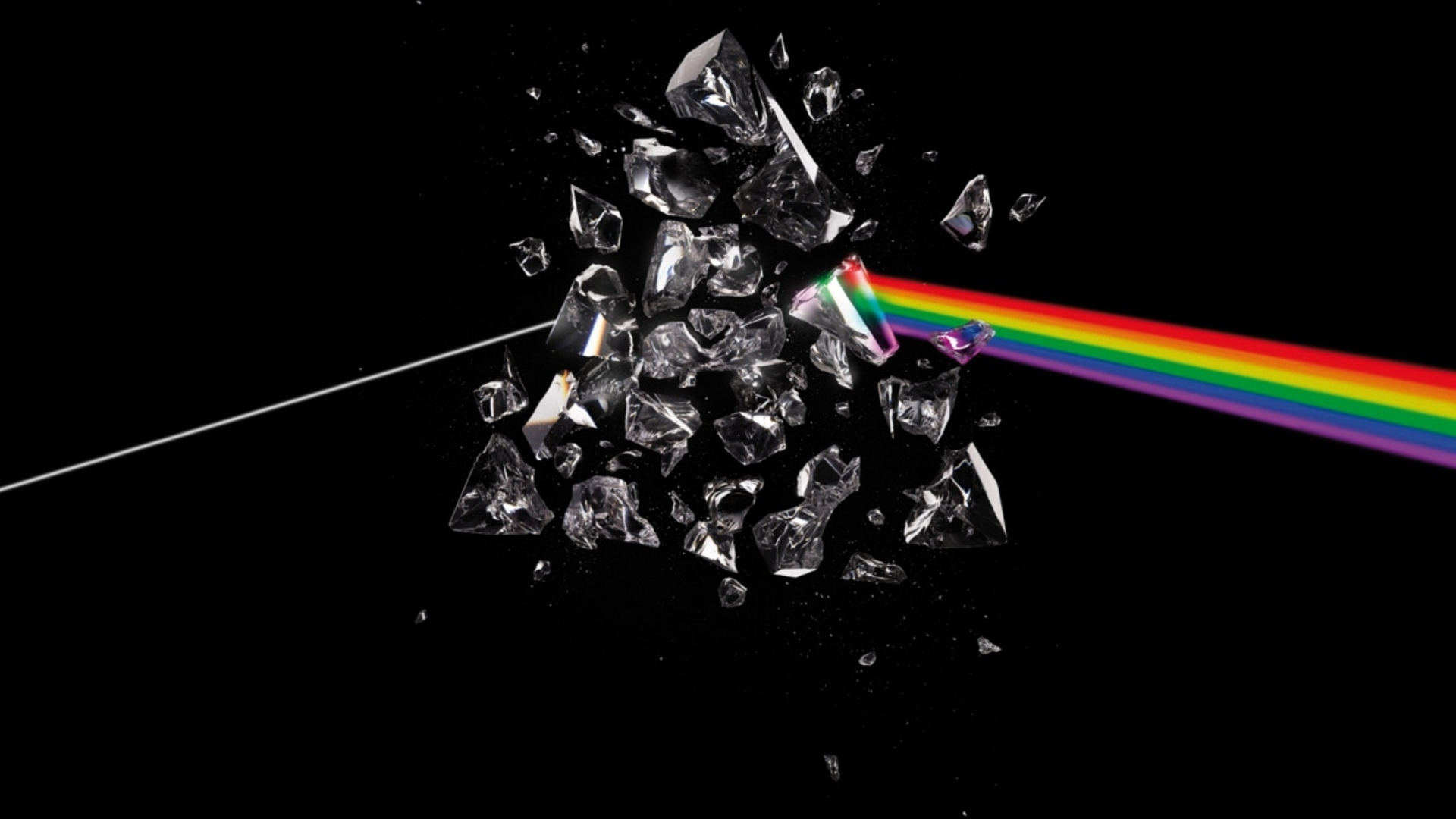 download wallpaper 1920x1080 pink floyd, debris, rainbow, graphics
