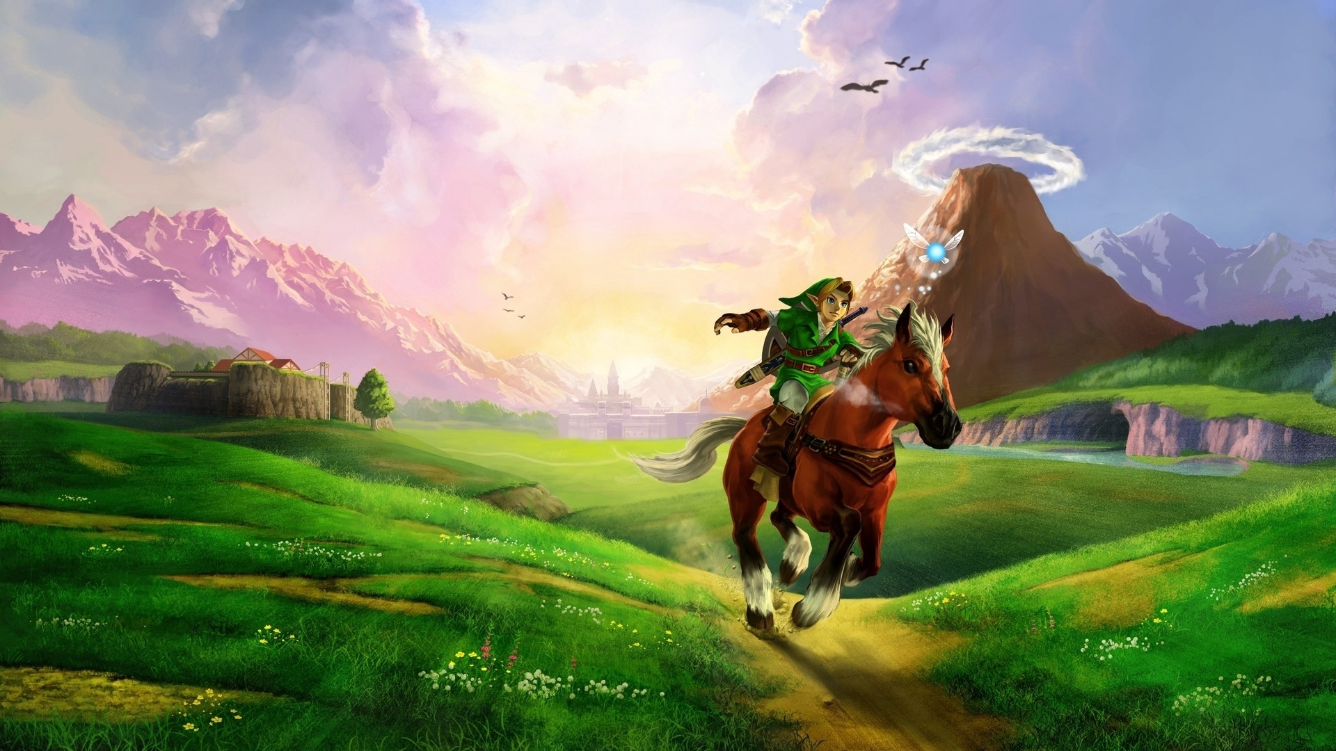 download wallpaper 1920x1080 the legend of zelda, horse, plain