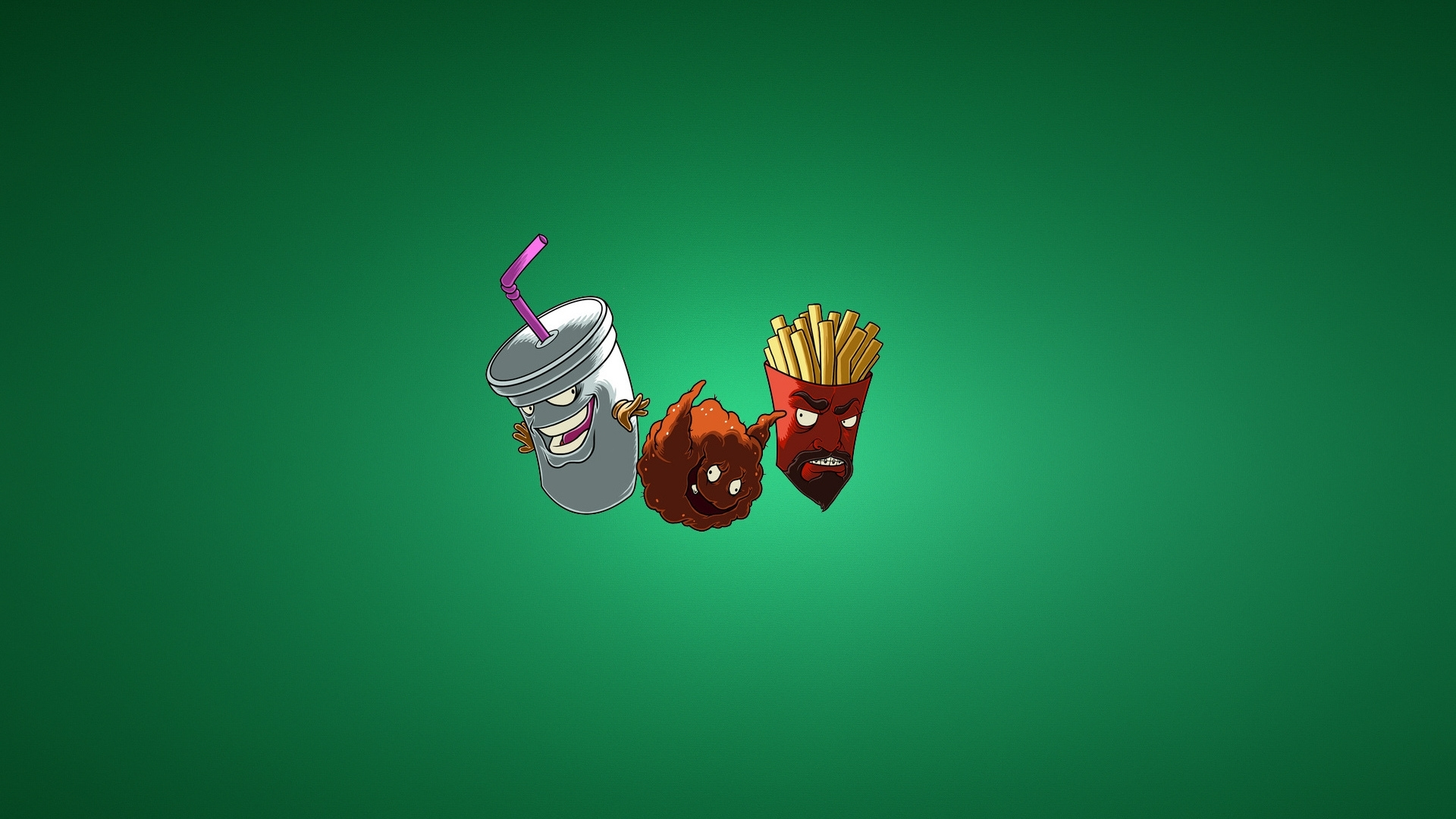 download wallpaper frylock, the fries, meatwad, milkshake, meatballs