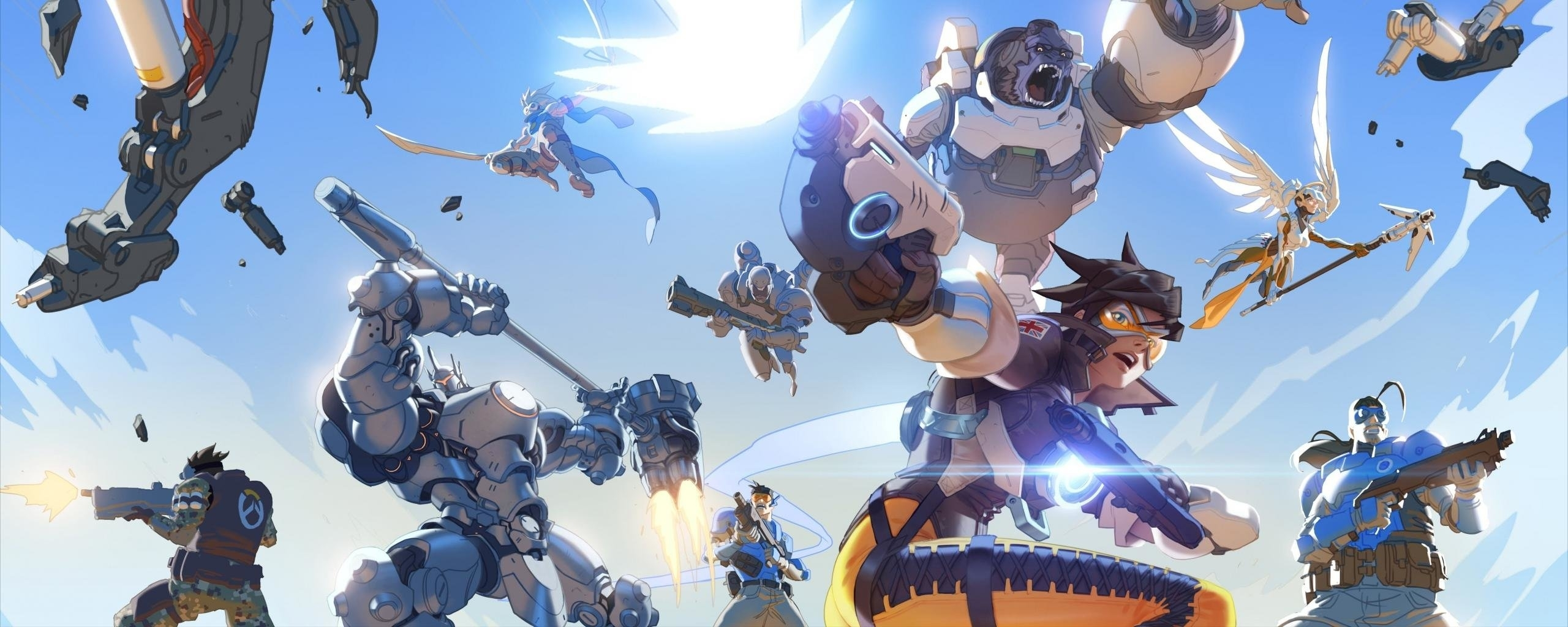 dual monitor winston (overwatch) wallpapers, hd backgrounds