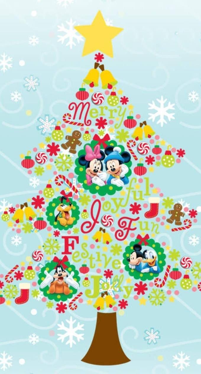 ミッキーの仲間たちのクリスマスツリー iphone壁紙 wallpaper