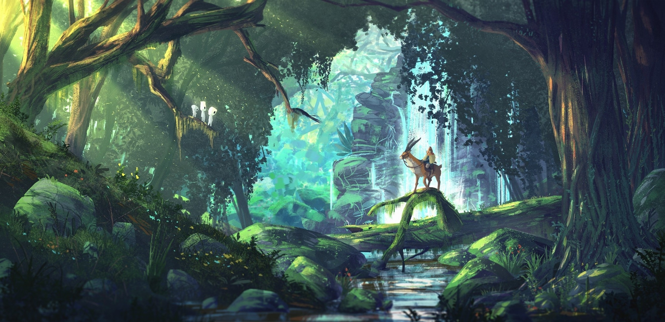 fantasy art, anime, forest, princess mononoke, studio ghibli