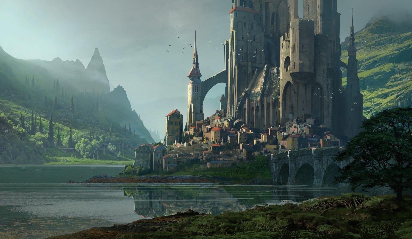 fantasy - castle fantasy lake landscape wallpaper | fantasy